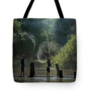 Asian Girl Playing Water In River Tote Bag