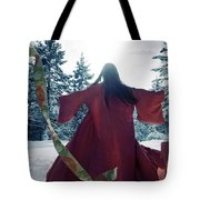 Asian Woman In Red Kimono Dancing In The Snow Spinning Around To Tote Bag