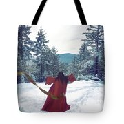 Asian Woman In Red Kimono Dancing On The Snow In The Forest Tote Bag