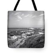Asilomar Beach Stairway In Black And White Tote Bag