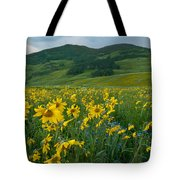 Aspen Sunflower And Mountain Landscape Tote Bag