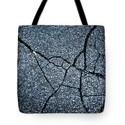 Asphalt Pavement With Cracks On The Surface Tote Bag