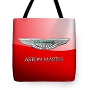 Aston Martin - 3 D Badge On Red Tote Bag