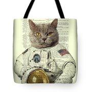 Astronaut Cat Illustration Tote Bag