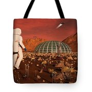Astronaut Walking Across The Surface Tote Bag