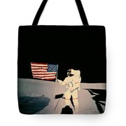 Astronaut With Us Flag On Moon Tote Bag