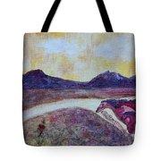 At Sunset, We Ride Tote Bag