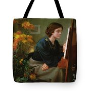 At The Easel  Tote Bag