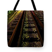 At The End Of A Railroad Track Tote Bag