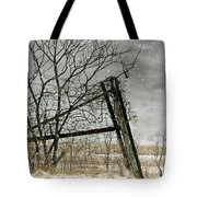 At The End...fence Post Tote Bag