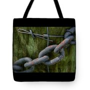 At The Fence Gate - Chain, Wire, And Post Tote Bag