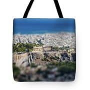 Athens, Greece. Athens Acropolis And City Aerial View From Lycavittos Hill Tote Bag