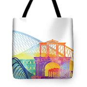 Athens Landmarks Watercolor Poster Tote Bag