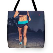 Athletic Woman Jogging Outdoors Tote Bag