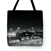 Atlanta Black And White Panorama Tote Bag
