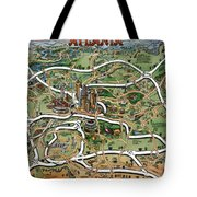 Atlanta Cartoon Map Tote Bag