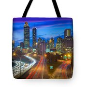 Atlanta Downtown By Night Tote Bag