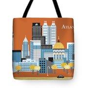 Atlanta Georgia Horizontal Skyline Tote Bag