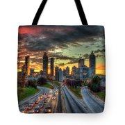 Atlanta Nite Lights Atlanta Downtown Cityscape Art Tote Bag