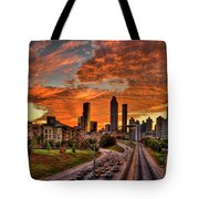 Atlanta Orange Clouds Sunset Capital Of The South Tote Bag