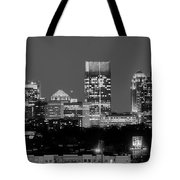Atlanta Skyline At Night Downtown Midtown Black And White Bw Panorama Tote Bag