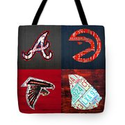 Atlanta Sports Fan Recycled Vintage Georgia License Plate Art Braves Hawks Falcons Plus State Map Tote Bag