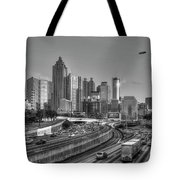 Atlanta Sunset Good Year Blimp Overhead Cityscape Art Tote Bag