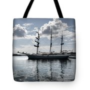 Atlantis - A Three Masts Vessel In Port Mahon Crystaline Water Tote Bag