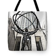 Atlas Sculpture Sketch In New York City Tote Bag