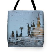 Atmospheric Hala Sultan Tekke Reflection At Larnaca Salt Lake Tote Bag