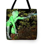 Attack Of The Green Invader Tote Bag