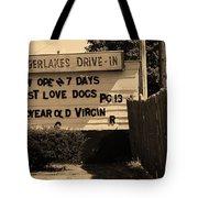 Auburn, Ny - Drive-in Theater Sepia Tote Bag