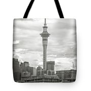 Auckland New Zealand Sky Tower Bw Texture Tote Bag