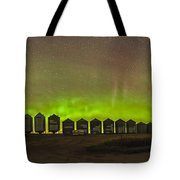 Aurora Borealis Behind Grain Bins Tote Bag