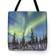 Aurora Borealis Over The Trees Tote Bag