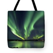 Aurora Borealis Over Tjeldsundet Tote Bag
