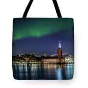 Aurora Over The Stockholm City Hall And Kungsholmen Tote Bag