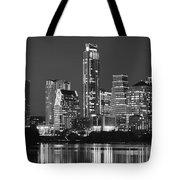 Austin Skyline At Night Black And White Bw Panorama Texas Tote Bag