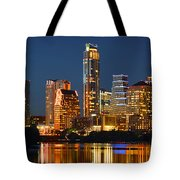 Austin Skyline At Night Color Panorama Texas Tote Bag by Jon Holiday