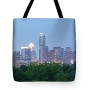 Austin Texas Building Skyline After The The Lights Are On Tote Bag