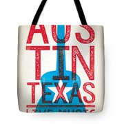 Austin Poster - Texas - Live Music Tote Bag by Jim Zahniser