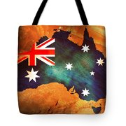 Australian Flag On Rock Tote Bag