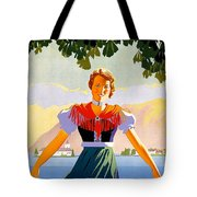 Austria, Young Woman In Traditional Dress Invites You, Danube River Tote Bag