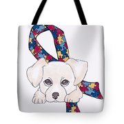 Autism Awareness And Puppy Love Tote Bag