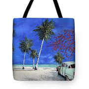 Auto Sulla Spiaggia Tote Bag