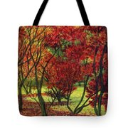 Autum Red Woodlands Painting Tote Bag