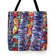 Autumn  Aspen Trees Contemporary Painting  Tote Bag
