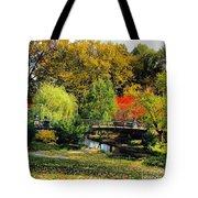 Autumn At Lafayette Park Bridge Square Tote Bag