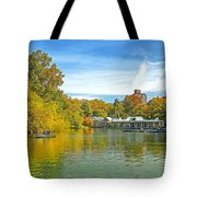 Autumn Central Park Lake And Boathouse Tote Bag