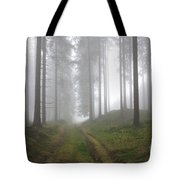 Autumn Coniferous Forest In The Morning Mist Tote Bag